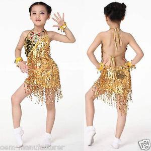 Girls-Latin-Dance-Dress-Salsa-Cha-Cha-Children-Competition-Costume-Sequin-tassel