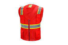 Red Two Tones Safety Vest With Multi Pocket Tool