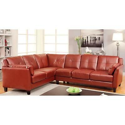 Red Sectional Sofa Faux Leather Mahogany Red Large Roomy Couch SHIPS FREE!  New | eBay