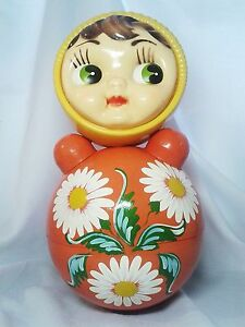 Vintage Soviet Russian USSR musical big toy roly-poly 40 cm