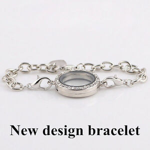 New-Silver-Magnetic-Crystal-Living-Memory-Locket-Bracelet-For-Floating-Charms
