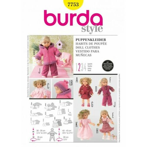 Burda Outdoor Dolls Clothes Accessories Fabric Sewing Pattern 7753
