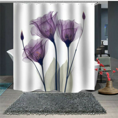 Shower Curtain Flower Drape Washable Polyester Mildew Proof Large with Hooks