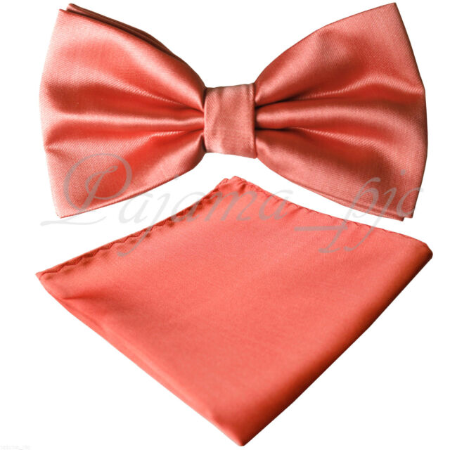B032 New Coral Orange Butterfly Style Pre-tied Bowtie & Pocket Square Hanky Set