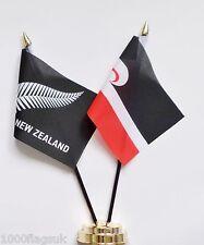 New Zealand Silver Fern & Tino Rangatiratanga Maori  Friendship Table Flag Set