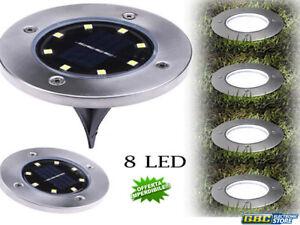 Disk lights luce pannello solare da giardino 8 led sensore
