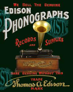 Restomod Framed Fine-Art Print of Old Edison Phonograph Sign 11x17 Restored New
