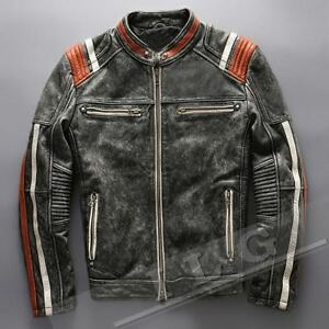 da119cbdc Details about Men's Vintage Motorcycle Cafe Racer Biker Retro Moto  Distressed Leather Jacket