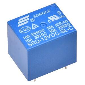 Miniatur-Print-Relais-12V-1-Wechsler-1xUM-10A-250V-Songle-SRD-12VDC-SL-C-Relay