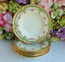 6 Fine Copeland Spode Porcelain Rimmed Soup Bowls Rose Swags Gold Encrusted