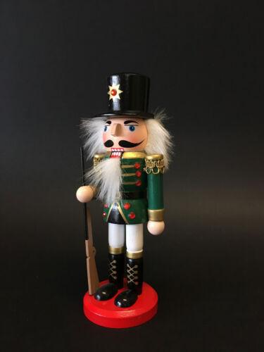 CHRISTMAS NUTCRACKER SOLDIER Ornament GREEN GUN Wooden 20cm  GREAT GIFT IDEA