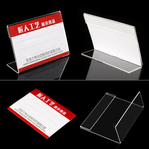 Cy/_ Acrylic Clear Sign Label Display Holder Price Name Card Tag Stand Rack Effic