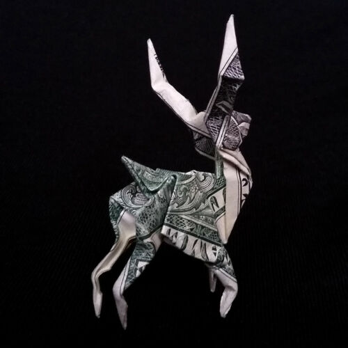 Origami Dollar Miniature DEER Figure Mini Gift $1 Bill Money Decor Small Statue