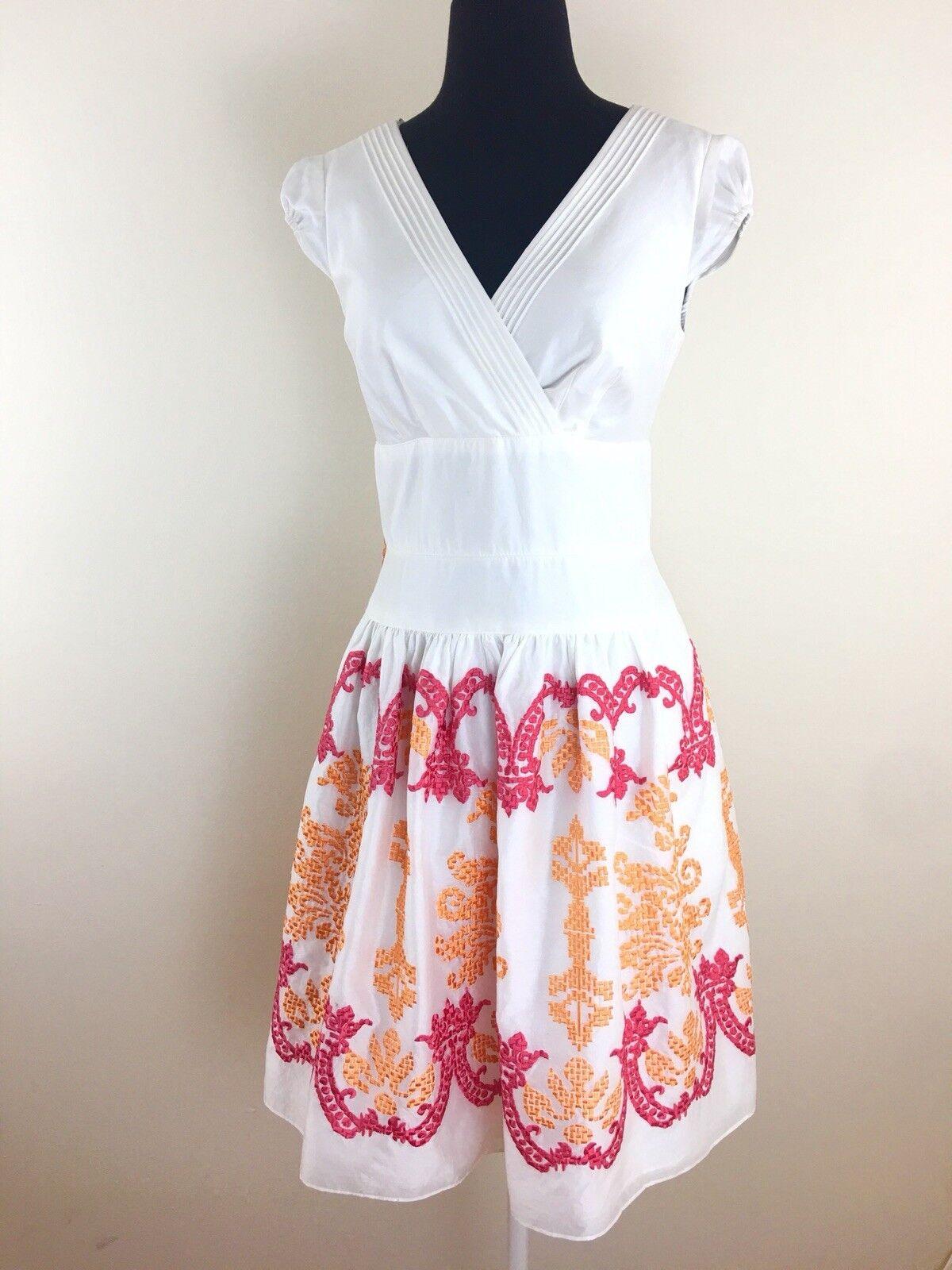 Kay Unger Woherren Größe 4 Weiß Embroiderot Cap Sleeves Fit Flare Dress C3
