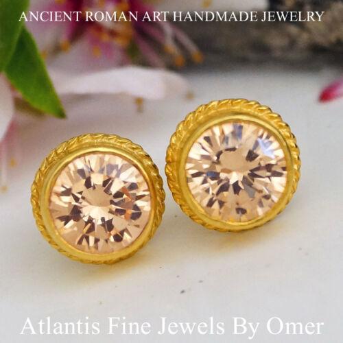 Sterling Silver Peach Topaz Stud Earrings 24k Gold Plated Handmade Jewelry Omer
