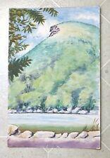 Original Watercolor ca 1950 Stuart Jones Old Man in the Mountain NH Mid-Cent.
