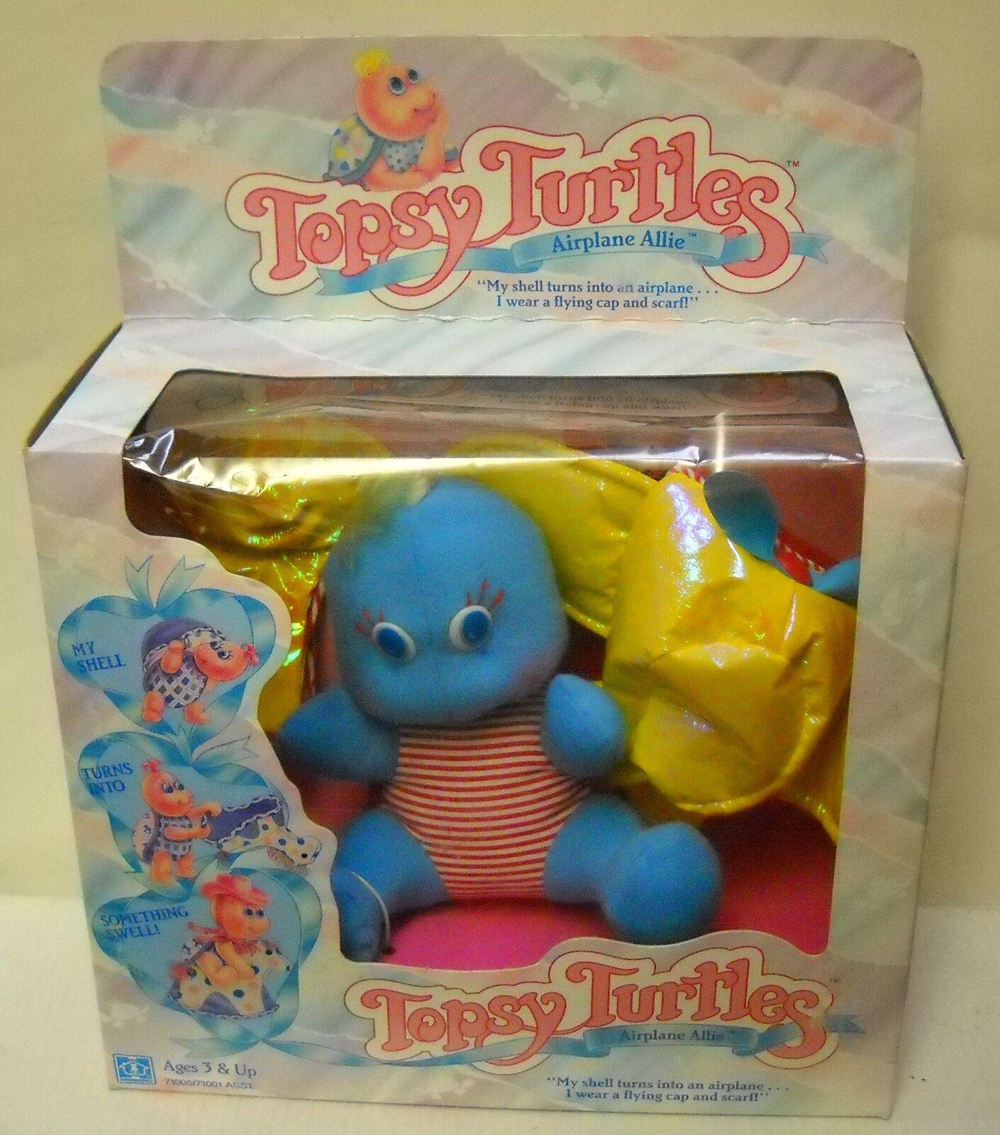 Nunca quitado de la Caja Vintage Hasbro Topsy tortugas avión Allie Peluche Tortuga