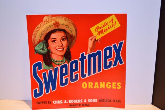 Vintage Sweetmex Orange Crate Label 1940's Weslaco, Texas! Look!