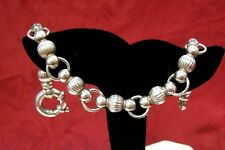 925 STERLING SILVER UNIQUE BALL BEAD RING LINK BRACELET 8 INCHES ITALY