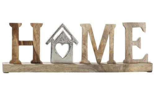 Schriftzug Home Mangoholz Höhe 14 cm natur Tischdeko Aufsteller