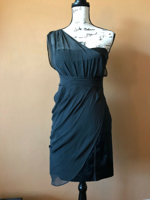 Bebe Black One Shoulder 100 Silk Bustier Top Dress Size Medium Ebay