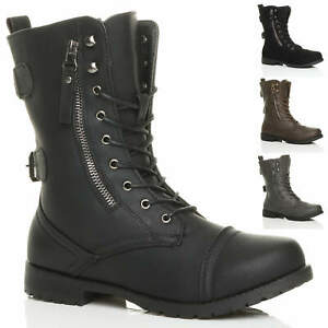 WOMENS LOW HEEL LACE UP DIAMANTE ZIP BIKER COMBAT ARMY MILITARY ANKLE BOOTS