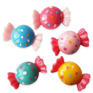 5pcs Spotty Sweets Candy Flatback Cabochons Kawaii Craft Embellishments Decoden