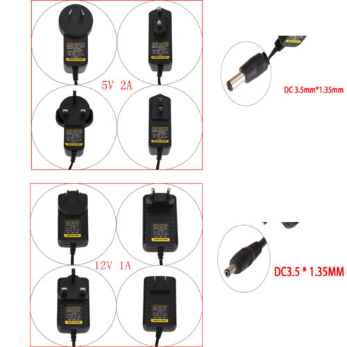 AC a DC 3.5mm*1.35mm 12V 1A 5V 2A Fuente De Alimentación Cargador Adaptador Convertidor Negro