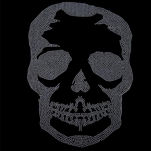 Korea Rhinestone Transfer Hot fix Motif Fashion Design Flower Line Black Skull