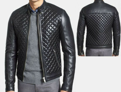 Quilted Vintage Jacket Biker Motorcycle Slim Black New Leather Genuine Mens Fit IxqTfYZwAI