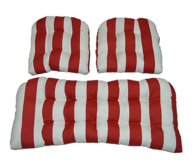 Magnificent 3 Pc Outdoor Wicker Cushion Set Loveseat Chair Cushions Red White Stripe Creativecarmelina Interior Chair Design Creativecarmelinacom