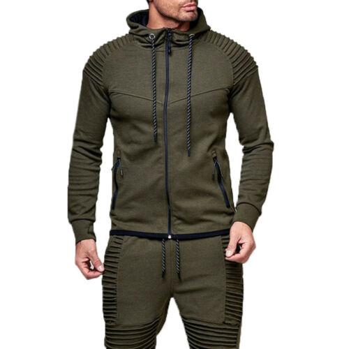 Mens Zip Up Hoodie Hoody Hooded Sweatshirt Coat Jacket Outwear Sweats Muscle Top