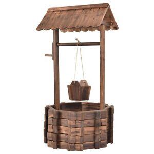 Wishing-Well-Planter-Pots-Wooden-Outdoor-Bucket-Rustic-Flower-Pot-Plants-Patio