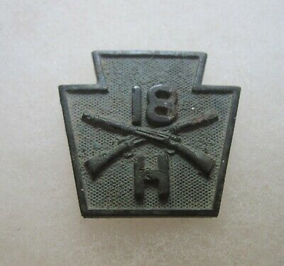 Orig WW1 INFANTRY Co H US Army Corps Collar Screw Post w Nut Wwi AEF Badge Military Vintage