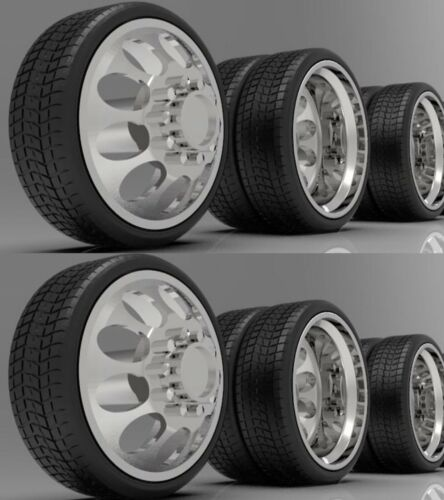 """1:64 26"""" Semi Truck Crater Dually Wheels On Low Profile Tires 2 Fronts 6 Rears"""