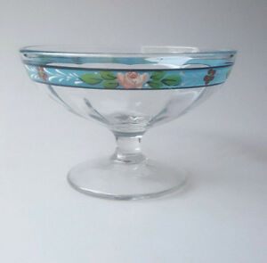 Vintage glass compote hand-painted blue floral border optic 1930s style