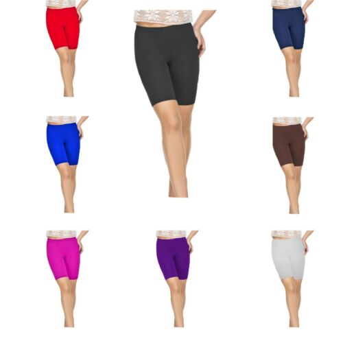 RSVH WKS Cotton Womens Plain Elasticated Knee Ladies Stretch Cycling Shorts