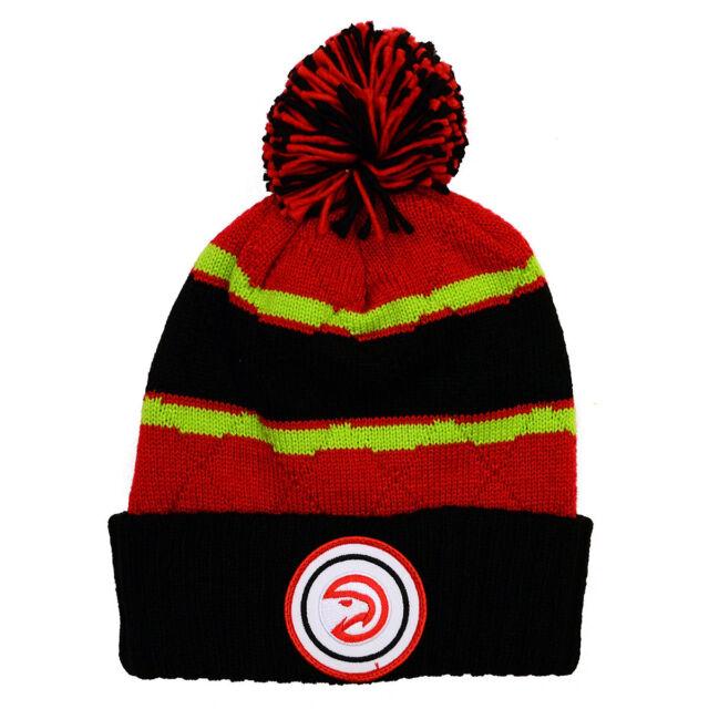 NBA Mitchell   Ness Jersey Stripe Hi Five Knit Hat with Pom (Atlanta Hawks) 3d45ae8ca1c