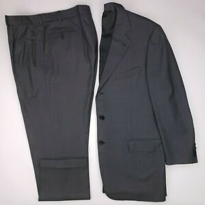 Ermenegildo-Zegna-44L-Suit-Birdseye-3-Button-Wool-Mens-Size-Italy-Pleated-36x31