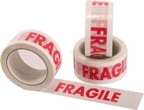 6 ROLLS OF FRAGILE PRINTED PARCEL PACKING TAPE 48mmx50M