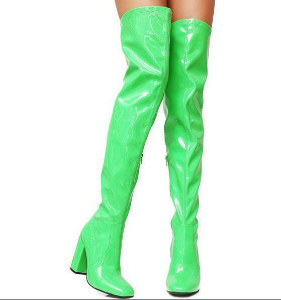 Womens Stretch Patent Leather Over The Knee Boots Chunky High Heel shoes Slim