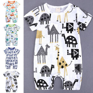 Newborn-Baby-Boy-Cotton-Romper-Jumpsuit-Outfits-Short-Sleeve-Clothes-UK-0-18M