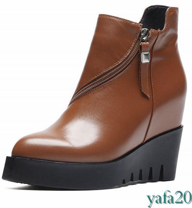 Mujeres Cuña Con Plataforma Tacón Alto botas Cuero al Tobillo de Cuero botas Vaca Puntera en Punta Creepers Punk 9f31a0