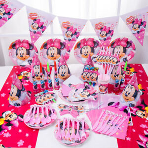 89 Tlg Minnie Mouse Kinder Madchen Geburtstag Deko Party Set Hute