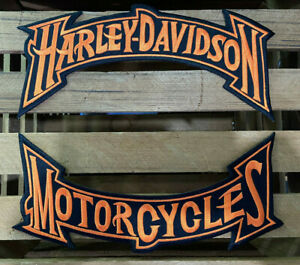 Harley-Davidson-Orange-Trim-Rockers-Patches-Set-Large-Biker-Embroidered