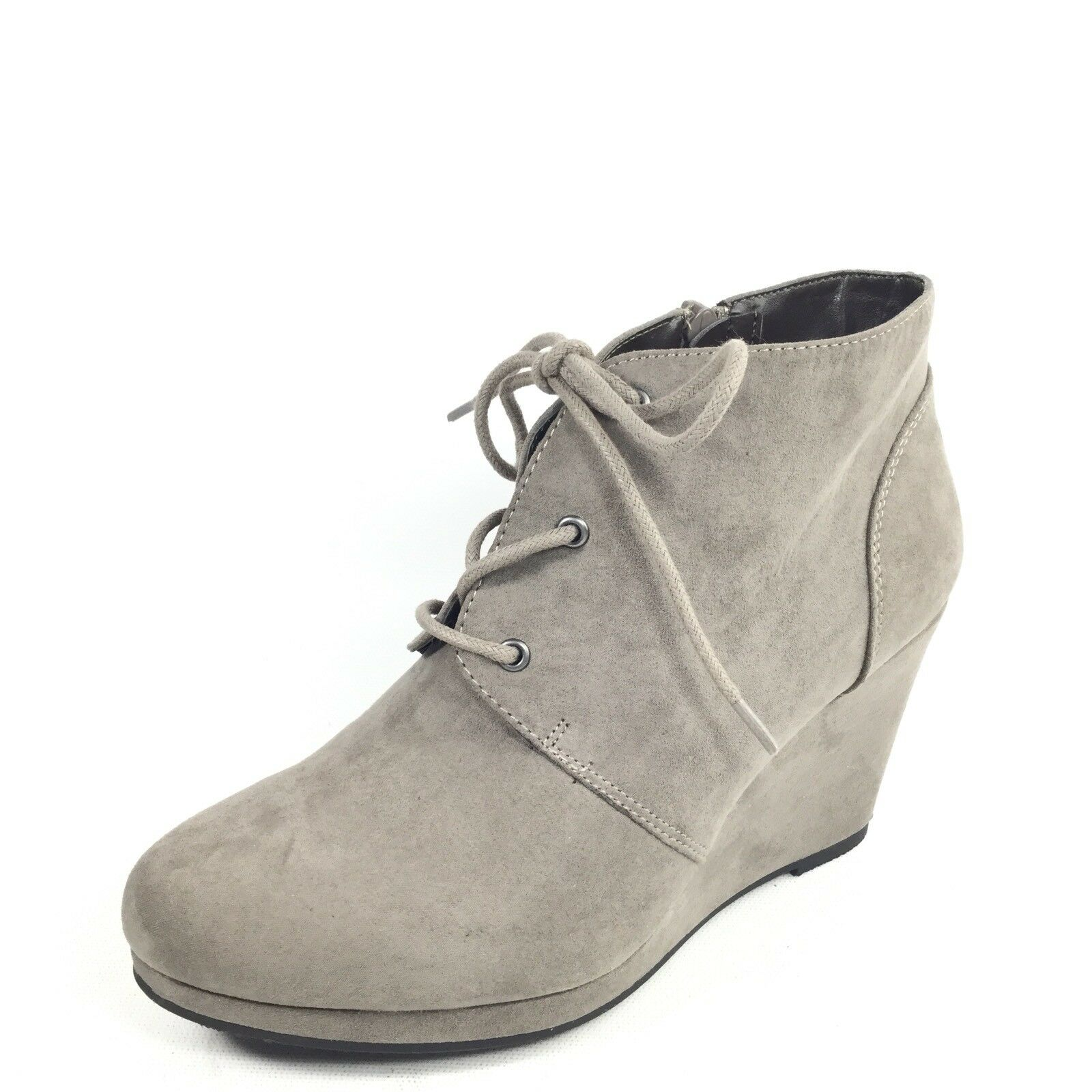 Style & Co Alaisi Womens Size 7.5 M Grey Wedge Zip  Lace Up Ankle Boots