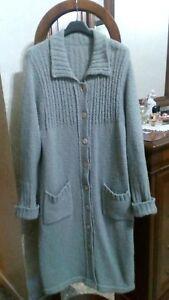 Dettagli su Cappotto grigio lana donna taglia grande giaccone pullover maglione premaman