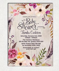 Bohemian baby shower invitation boho floral bridal invite high tea image is loading bohemian baby shower invitation boho floral bridal invite filmwisefo