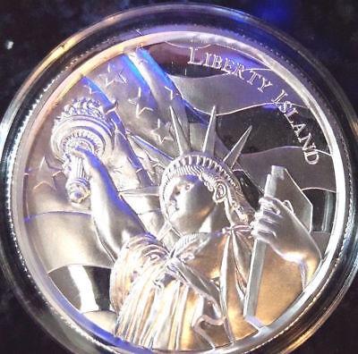 American Landmark Series Liberty Island UHR Relief 2 oz Silver Capsuled BU Round