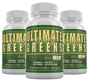 Details about Ultimate Greens MSM 180 capsules 3 Bottle Super Food  Superfood Vegan Friendly